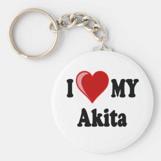 I Love Heart My Akita Dog Key Chains