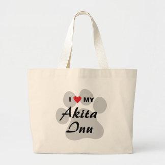 I Love (Heart) My Akita Inu Paw Print Canvas Bags