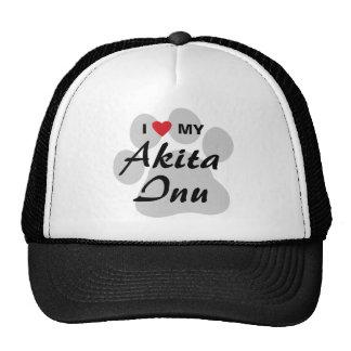 I Love (Heart) My Akita Inu Paw Print Mesh Hats