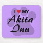 I Love (Heart) My Akita Inu Paw Print Mouse Pad
