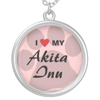 I Love (Heart) My Akita Inu Paw Print Pendant