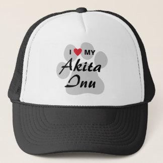 I Love (Heart) My Akita Inu Paw Print Trucker Hat