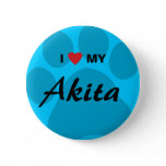 I Love (Heart) My Akita Paw Print Pinback Button