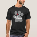 I Love (Heart) My Akita Paw Print T-Shirt