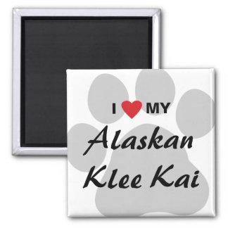 I Love (Heart) My Alaskan Klee Kai 2 Inch Square Magnet