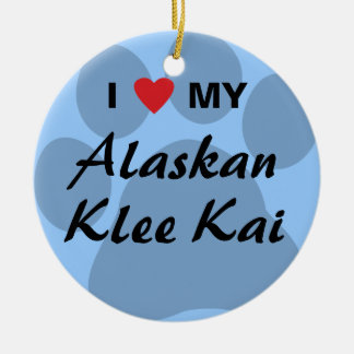 I Love (Heart) My Alaskan Klee Kai Ceramic Ornament