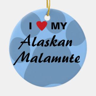 I Love (Heart) My Alaskan Malamute Double-Sided Ceramic Round Christmas Ornament