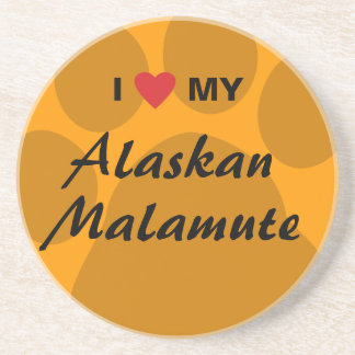 I Love (Heart) My Alaskan Malamute Drink Coaster