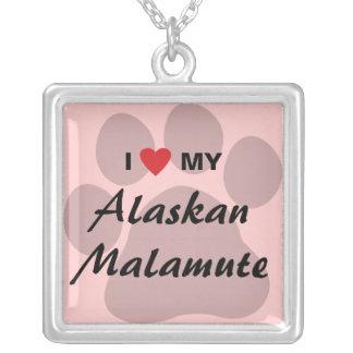 I Love (Heart) My Alaskan Malamute Square Pendant Necklace