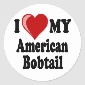 I Love (Heart) My American Bobtail Cat Classic Round Sticker