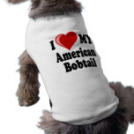I Love (Heart) My American Bobtail Cat Dog T Shirt