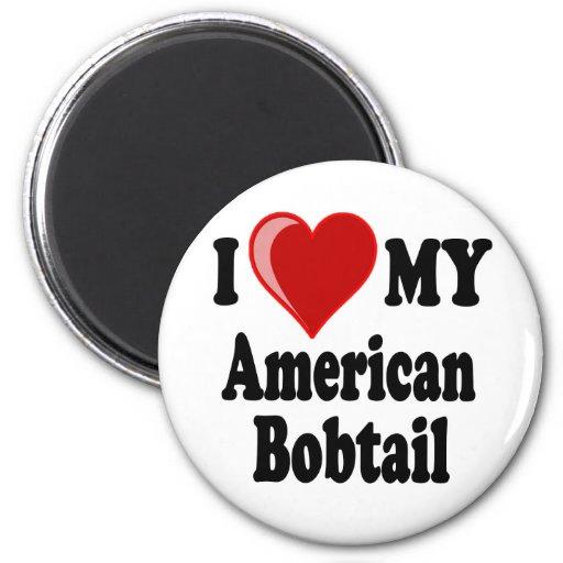 I Love (Heart) My American Bobtail Cat Magnets