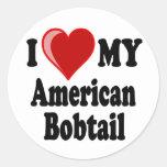 I Love (Heart) My American Bobtail Cat Round Sticker