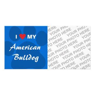 I Love (Heart) My American Bulldog Card