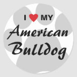 I Love (Heart) My American Bulldog Classic Round Sticker