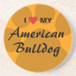 I Love (Heart) My American Bulldog Coasters