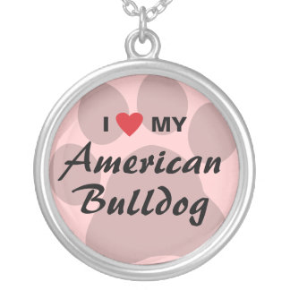 I Love (Heart) My American Bulldog Silver Plated Necklace