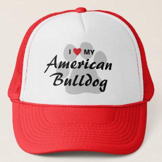 I Love (Heart) My American Bulldog Trucker Hat