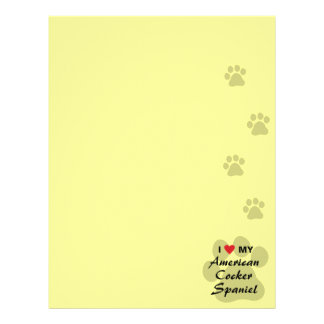 I Love (Heart) My American Cocker Spaniel Customized Letterhead
