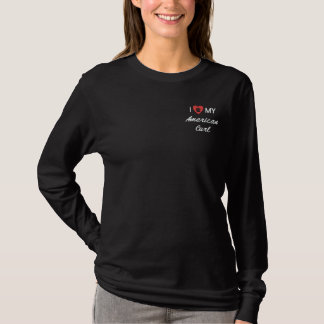 I Love (Heart) My American Curl Pawprint Embroidered Long Sleeve T-Shirt