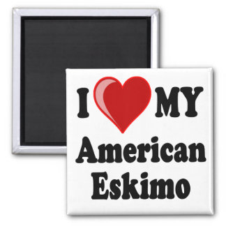 I Love (Heart) My American Eskimo Dog 2 Inch Square Magnet