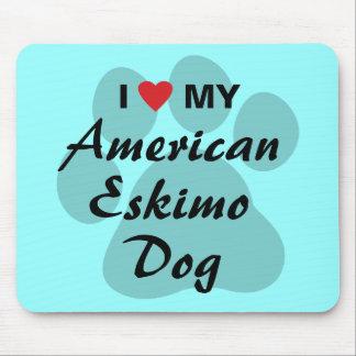 I Love (Heart) My American Eskimo Dog Mouse Pad