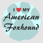 I Love (Heart) My American Foxhound Classic Round Sticker