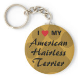 I Love (Heart) My American Hairless Terrier Keychain