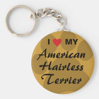 I Love (Heart) My American Hairless Terrier Keychain