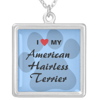 I Love (Heart) My American Hairless Terrier Silver Plated Necklace