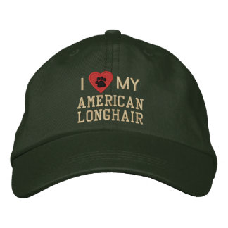 I Love (Heart) My American Longhair Pawprint Embroidered Baseball Hat