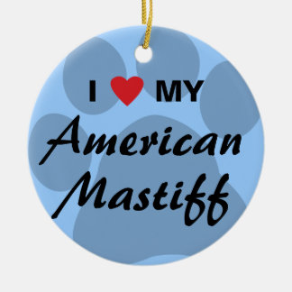 I Love (Heart) My American Mastiff Christmas Ornaments