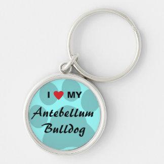I Love (Heart) My Antebellum Bulldog Silver-Colored Round Keychain