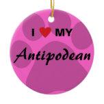 I Love (Heart) My Antipodean Pawprint Ceramic Ornament