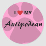 I Love (Heart) My Antipodean Pawprint Classic Round Sticker