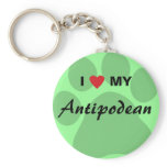 I Love (Heart) My Antipodean Pawprint Keychain
