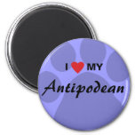 I Love (Heart) My Antipodean Pawprint Magnet