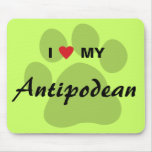 I Love (Heart) My Antipodean Pawprint Mouse Pad