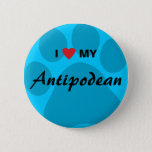 I Love (Heart) My Antipodean Pawprint Pinback Button