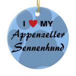 I Love (Heart) My Appenzeller Sennenhund Ceramic Ornament