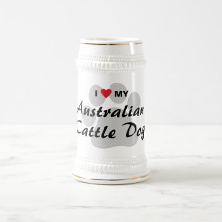 I Love (Heart) My Australian Cattle Dog Beer Stein