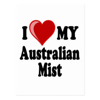 I Love (Heart) My Australian Mist Cat Postcard