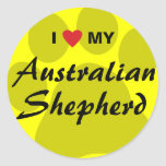 I Love (Heart) My Australian Shepherd Classic Round Sticker