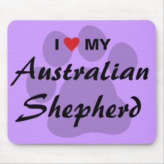 I Love (Heart) My Australian Shepherd Mouse Pad