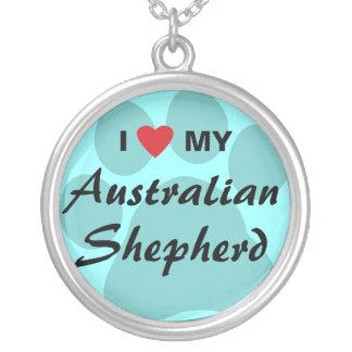 I Love (Heart) My Australian Shepherd Round Pendant Necklace