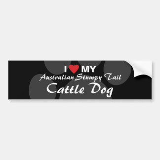 I Love (Heart) My Australian Stumpy Tail CattleDog Car Bumper Sticker