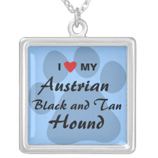 I Love (Heart) My Austrian Black and Tan Hound Square Pendant Necklace