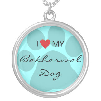 I Love (Heart) My Bakharwal Dog Paw Print Round Pendant Necklace