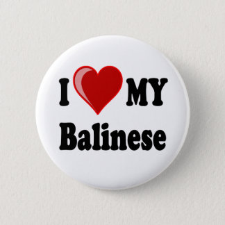 I Love (Heart) My Balinese Cat Pinback Button