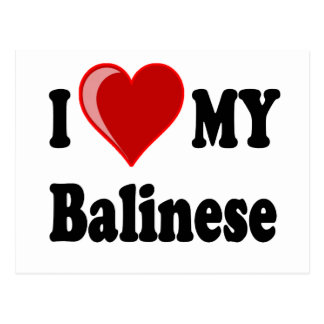 I Love (Heart) My Balinese Cat Postcard